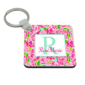 Bridesmaid Gift ~ Monogram Keychain ~ Lilly Pulitzer Inspired Rose ~ Tilly Jean Designs