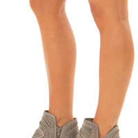 Fossil Grey Faux Leather Boho Heeled Bootie