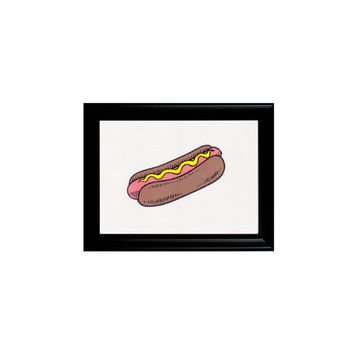 Pink Hotdog Junk Food Print Framed Wall Hanging