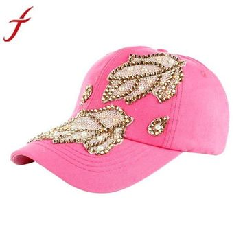 DCCKU7Q Women Men Denim Snapback Fashion Leaves Rhinestone Baseball Cap gorras Hip Hop Hat bone masculino