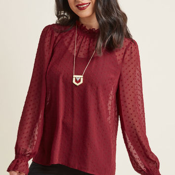 In Amour Chiffon High Neck Blouse