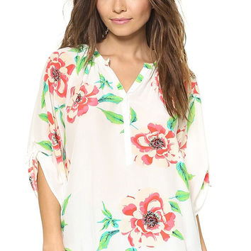 White Floral Print V-Neck Blouse