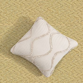 "DaDa Bedding Set of 2 Bohemian Hourglass Ivory White Ruffles Throw Pillow Covers, 18"" (JHW873)"