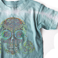 3T 4T 5 toddler skull tshirt Burnout hand dyed trendy vintage look tattoo shirt. Tie dyed boys cotton summer clothes. bones nelson