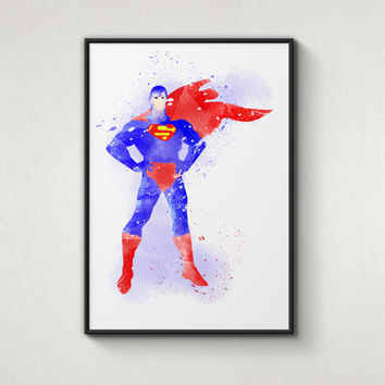 Super Hero Superman, Alternative Poster, Watercolor Painting, Archival Fine Art, Home Wall Decor, Giclee Print,