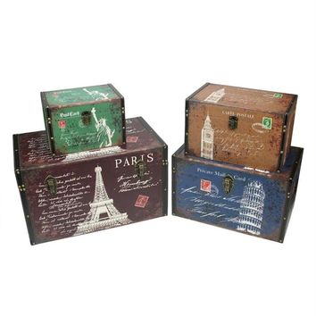 """Set of 4 Vintage-Style Travel Themed Decorative Wooden Storage Boxes 23.5"""""""