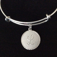 Matte Silver Initial Charm Expandable Bracelet Gift Adjustable Wire Bangle One Size fits all Stackable Stacking Trendy