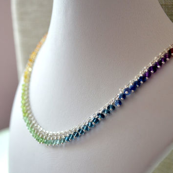 Rainbow Necklace, Real Gemstone Jewelry, Sterling Silver, Fringe, Peridot, London Blue Topaz, Colorful Wire Wrapped Jewelry, Free Shipping