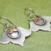 Mixed metal earrings, Unique earrings, One of a kind pair of earrings, Sterling silver and copper, Sterling silver earrings, Silversmithing