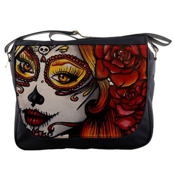 "Womens Day of the Dead Tattoo  Rockabilly  ""Autumn  "" Messenger Bag Purse  Sugar Skulls Dia De Lo Muertos Tattoo Art  Lowbrow Cute punk"