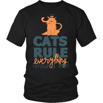 Funny Cats Rule Everything Around Me Gifts T-Shirts For Men Women Kids