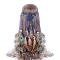 Boho Indian Feather Headband Dream Catcher Hair band Beads Carnival Hippy Native