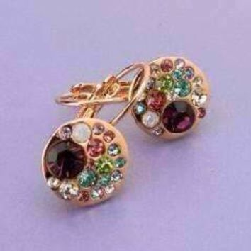 Party Confetti Austrian Crystal Yellow Gold Plated Leverback Earrings