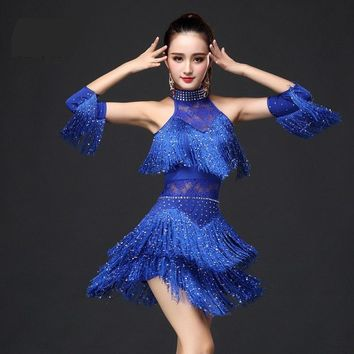 New Latin Dance Dress Women/Girls/Lady New Sexy Fringe Salsa/Ballroom/Tango/Cha Cha/Rumba/Samba/Latin Dresses For Dancing