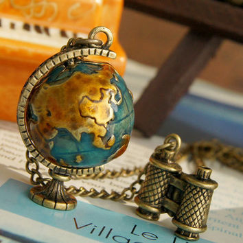 vintage style Globe and the telescope necklace by Sevinoma on Etsy