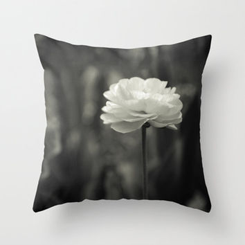 Pillow Cover Poppy in Black and White Photo Pillow Nature Throw Pillow 16x16 18x18 20x20 Easy Decorating Floral Living Room Bedroom