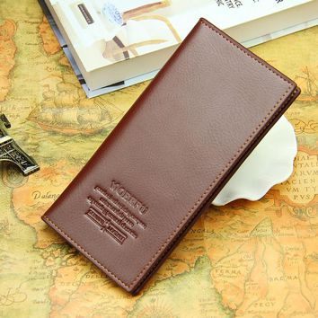Men PU leather long clutch wallet business men Cards holder purse brown black male fashion pocket wallet Coin bag purse Billfold