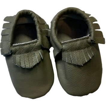 Baby Leather Moccasins, Dark Green