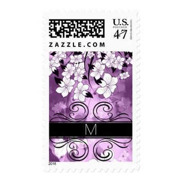 White Tree Blossoms on Lavender with Black Postage Stamp