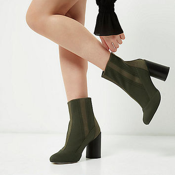 Khaki green knitted ankle boots - Boots - Shoes & Boots - women