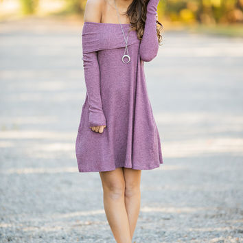 Make Your Mauve Long Sleeve Fold Over Off Shoulder Dress (Mauve)