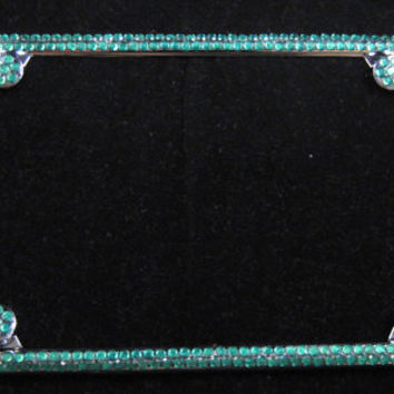2 Rows GREEN Big Rhinestone Diamond Chrome License Plate Frame w/ 4 Caps