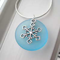 Snowflake Necklace - Snowflake Jewelry - Winter Jewelry - Sea Glass Jewelry - Winter Gift Set - Aqua Necklace