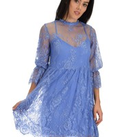 SL3965 Blue 3/4 Sleeve Lace Baby-doll Dress With Scalloped Bottom