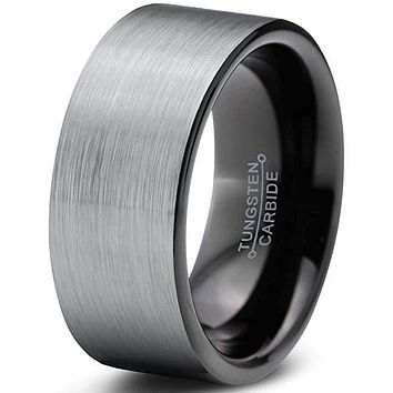 Harper Flat Two-Tone Tungsten Wedding Band Comfort Fit With Brushed Finish - 9mm