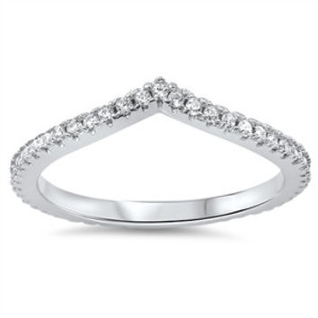 925 Sterling Silver CZ Simulated Diamond Tiara Ring 4MM