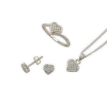 Diamond Heart Ring Necklace Earrings Set Sterling Silver (.25 cttw, I-J, I2-I3)
