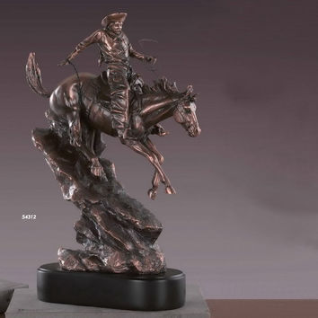 Cowboy on a Down-Facing Horse Figurine