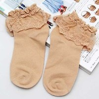 New soft Lace Ruffle Frilly Ankle Socks Ladies Princess Girl Fashion