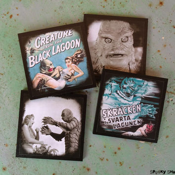 Creature From The Black Lagoon coasters - set of 4 wooden coasters - halloween decor, horror movie, poster, geekery, monster movie