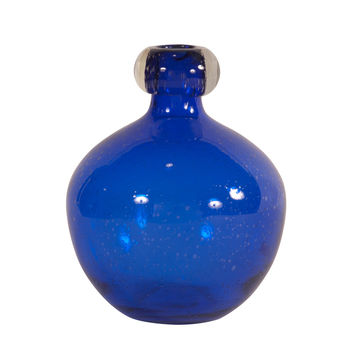 Cobalt Blue Blown Glass Vase - Medium