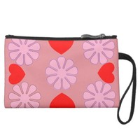 hearts and flowers pink by j3ll3y wristlet purse