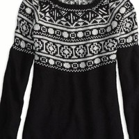 AEO Women's Factory Fair Isle Crew Sweater (True Black)