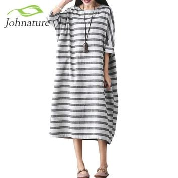 Johnature Women Striped Dress Plus Size Women Clothes 2017 Spring Casual Cotton Linen O-Neck Seven Sleeve Loose Vintage Dresses