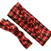 Mommy and Me Pre-tied Head Scarfs Burnt Orange Black Plaid Flannel Headbands for Mommy and Infant Toddler Baby Headband Hair Accessory