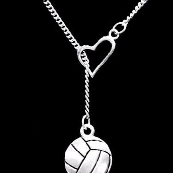 Volleyball Heart Sports Gift Mom Mother Daughter Lariat Necklace