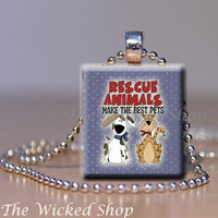 Scrabble Tile Pendant Necklace  Rescue Animals by TheWickedShop