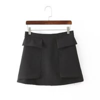 Summer Women's Fashion With Pocket Zippers Skirt [4920267204]