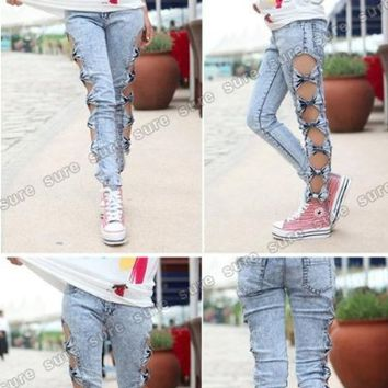 Vintage Retro Korea Style bow design side cut out jeggings leggings DENIM STONE WASH Light Blue JEANS low rise tight slim fit stretch ripped Skinnies Torn ankled length dry print ragged distressed button fly Trousers M for uk 8-10 L for uk 10-12 12-14