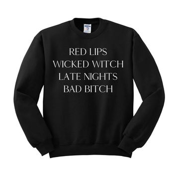 Red Lips Wicked Witch Sweatshirt