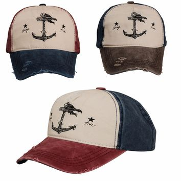 Men Women Baseball Cap Anchor Snap back Outdoor Sports Hats Adjustable Vintage