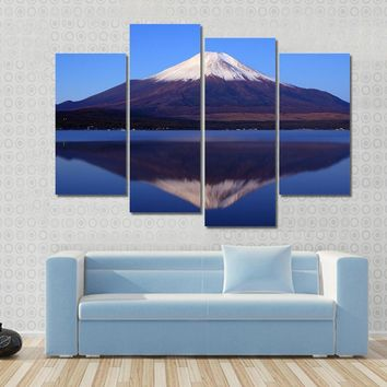 View Of Mount Fuji With Mirror Reflection In Lake Multi Panel Canvas Wall Art