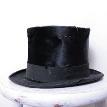 Antique Victorian Black Beaver Skin Top Hat