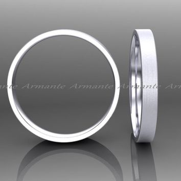 White Gold 2.00mm Wide, Hand Made Womens Wedding Ring, Stuck Band