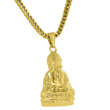 "Buddha Pendant Designer 18K Gold Finish Free 24"" Stainless Steel Necklace"