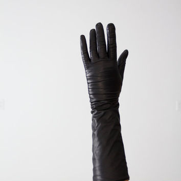 vintage black leather gloves, classic length driving gloves